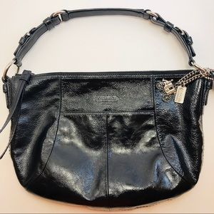 Coach Black Patent Leather Hobo Bag